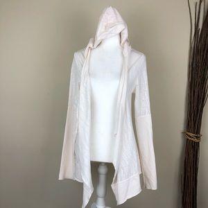 PRANA | Graceful Wrap Draped Sheer Cardigan Hood L